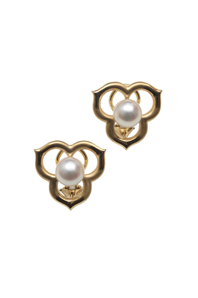 Angela Cummings Gold Open Petal Pearl Earrings