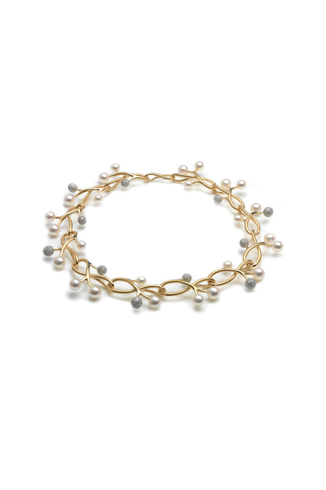 Angela Cummings Gold Thorn Sprig Pearl Necklace