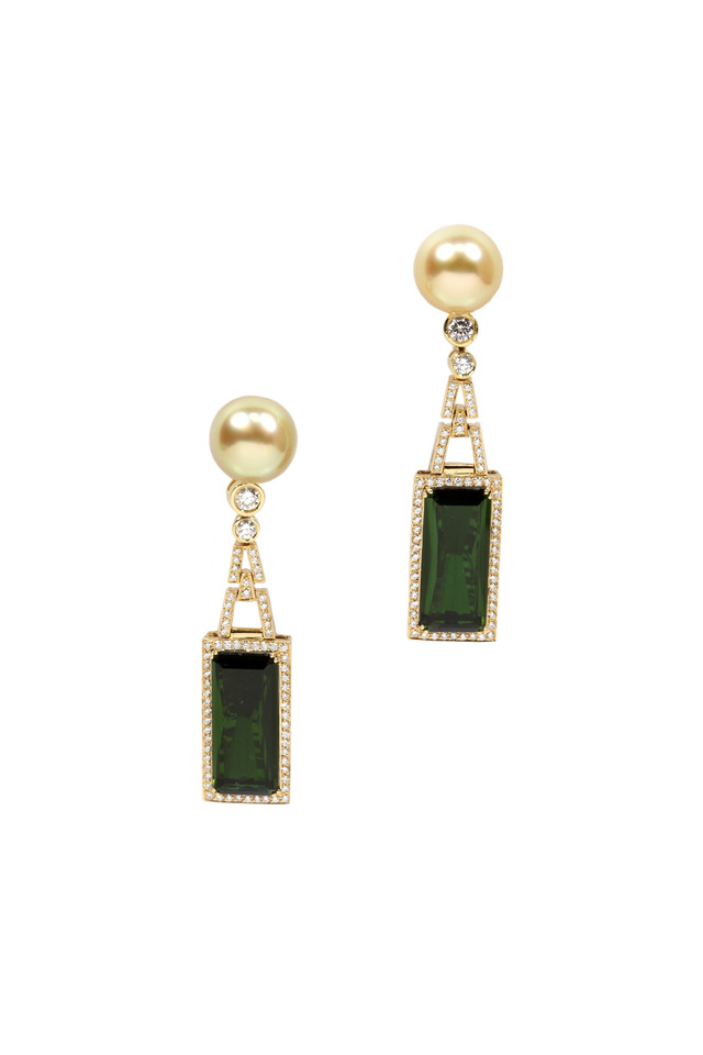 Yellow Gold South Sea Pearl & Tourmaline Earrings