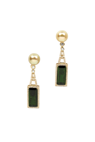 Assael - Yellow Gold South Sea Pearl & Tourmaline Earrings