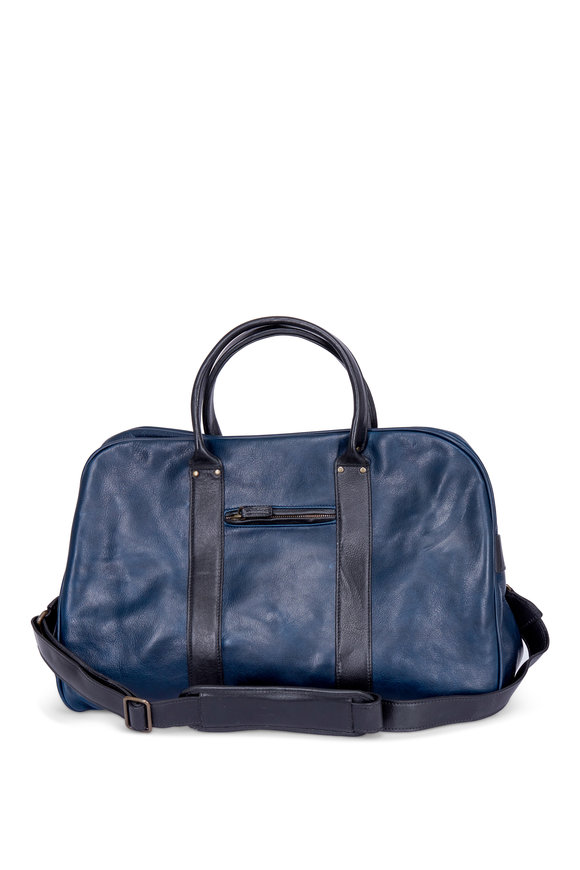 Moore & Giles Taylor Titan Milled Navy & Black Leather Duffle