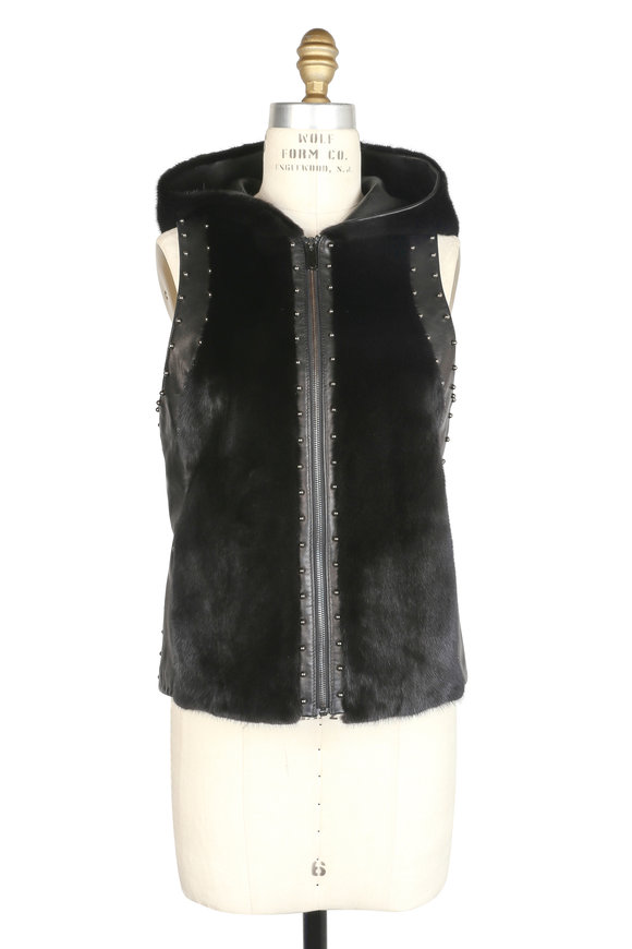 Brandon Sun Black Mink & Leather Hooded Vest