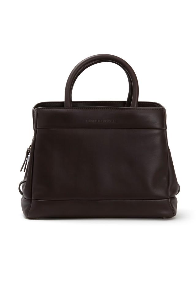 Brown Matte Leather Frame Bag