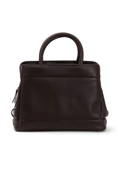 Brunello Cucinelli - Brown Matte Leather Frame Bag