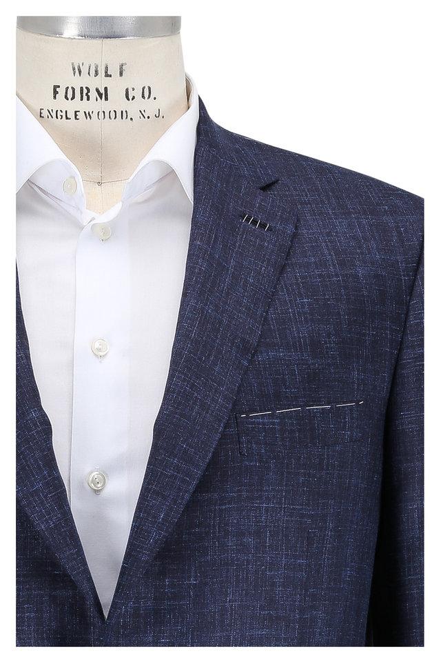 Navy Blue Silk, Cashmere & Linen Sportcoat