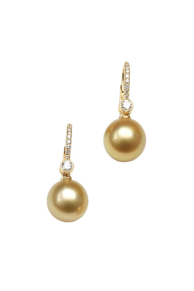 Assael - Gold Golden South Sea Pearl Diamond Drop Earrings