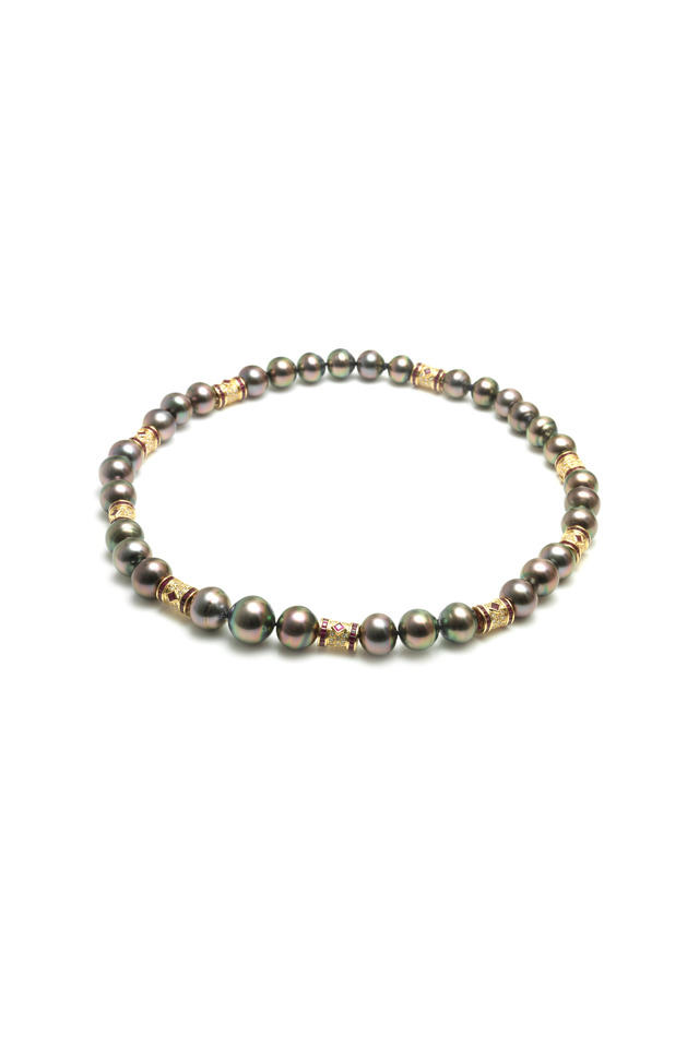 Yellow Gold Tahitian Pearl Ruby Diamond Necklace