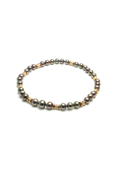 Assael - Yellow Gold Tahitian Pearl Ruby Diamond Necklace