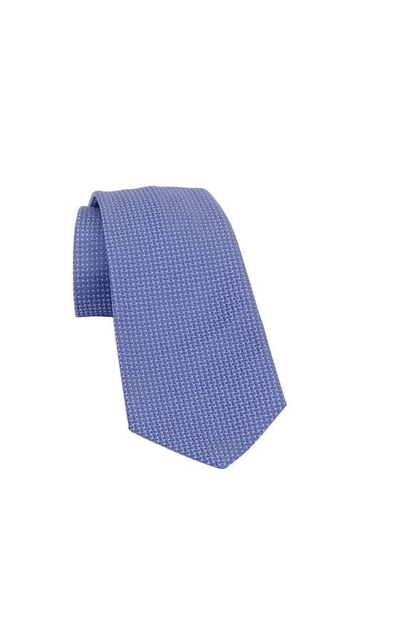 Kiton Navy Blue Mini Dot Silk Necktie