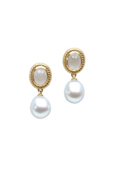 Assael - Gold South Sea Pearl & Moonstone Drop Earrings