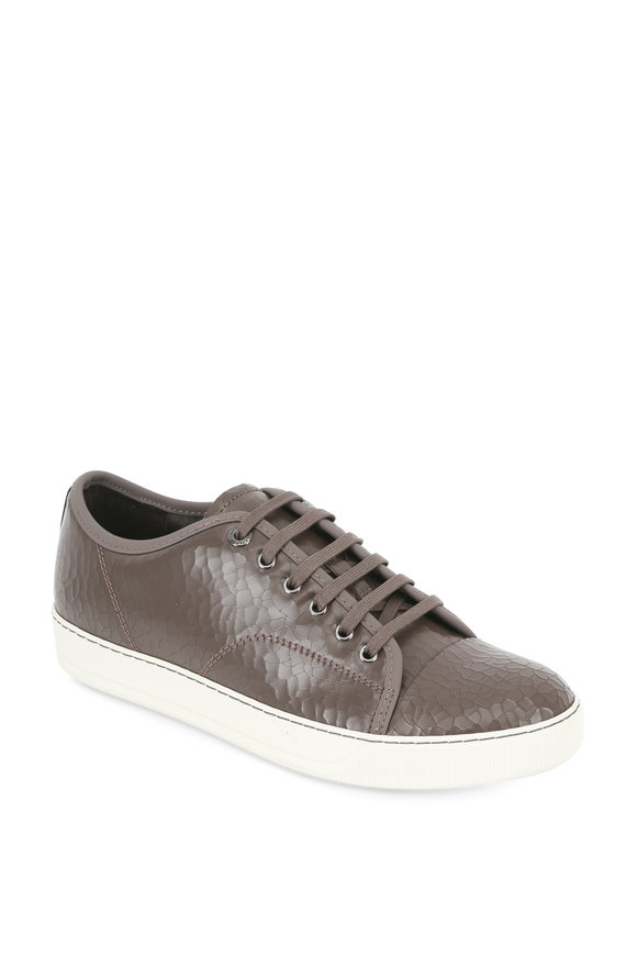 Lanvin Taupe Crackled Leather Low Top Sneaker
