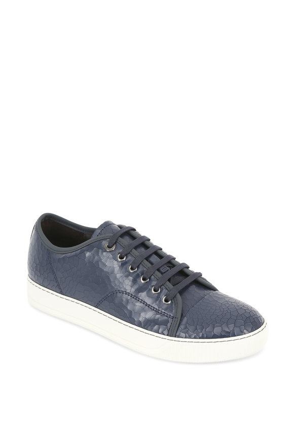 Lanvin Navy Blue Crackled Leather Low Top Sneaker