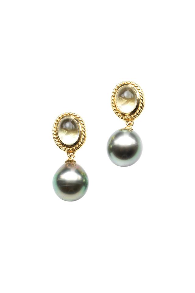 Gold Tahitian Pearl & Moonstone Drop Earrings