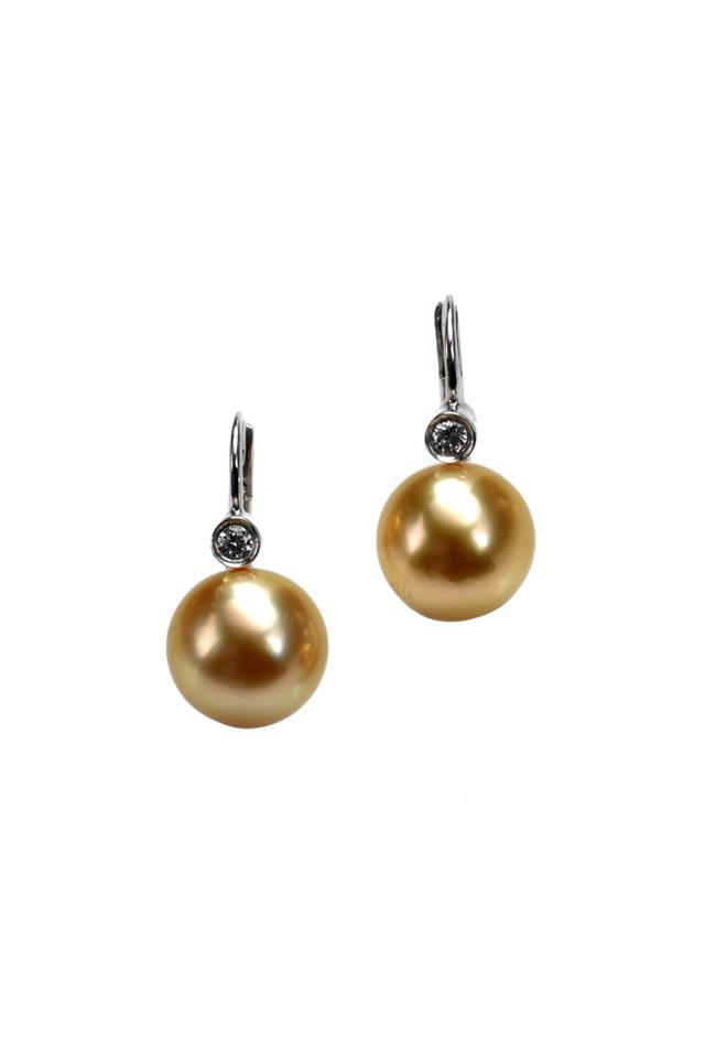 White Gold South Sea Diamond Drop Earrings