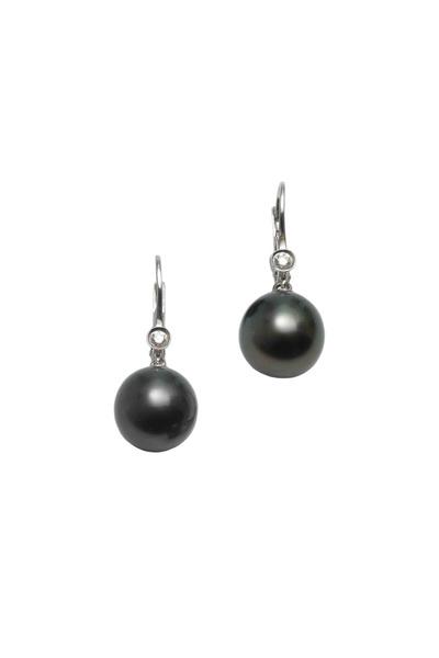 Assael - Gold Tahitian Natural Pearl Diamond Drop Earrings