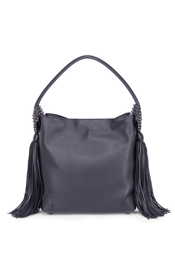 Christian Louboutin Eloise Black Leather Fringed Hobo Bag