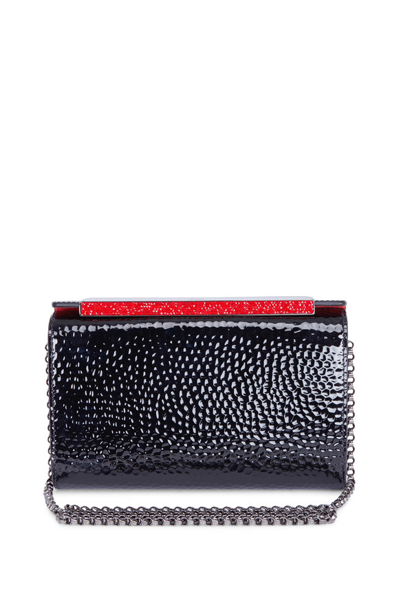 Christian Louboutin Vanité Black Hammered Patent Leather Chain Clutch