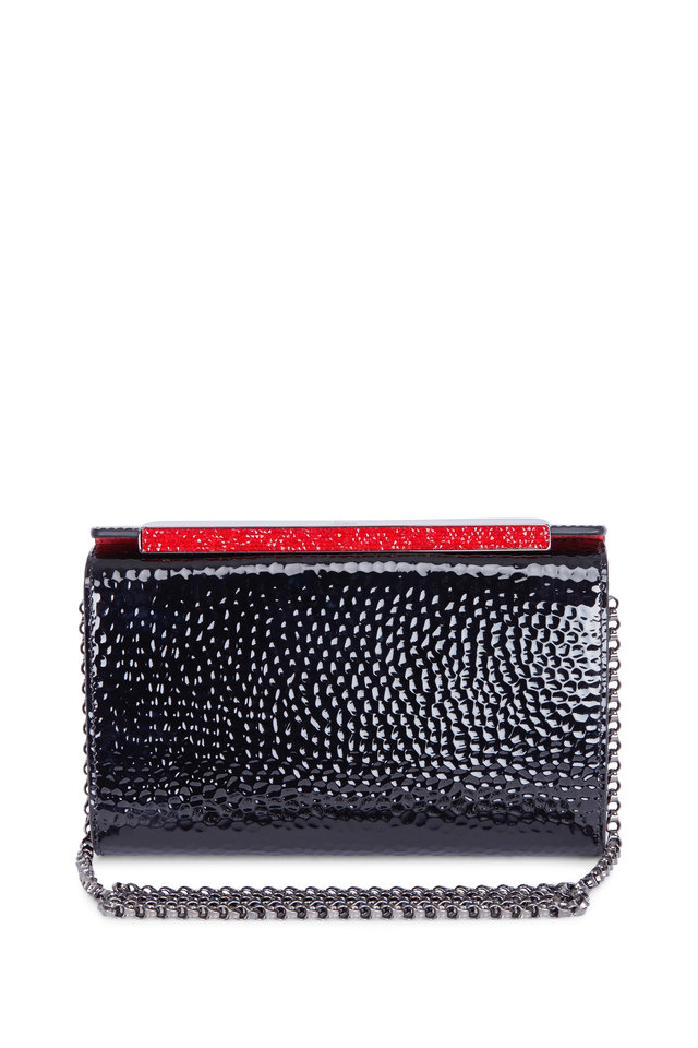 Vanité Black Hammered Patent Leather Chain Clutch