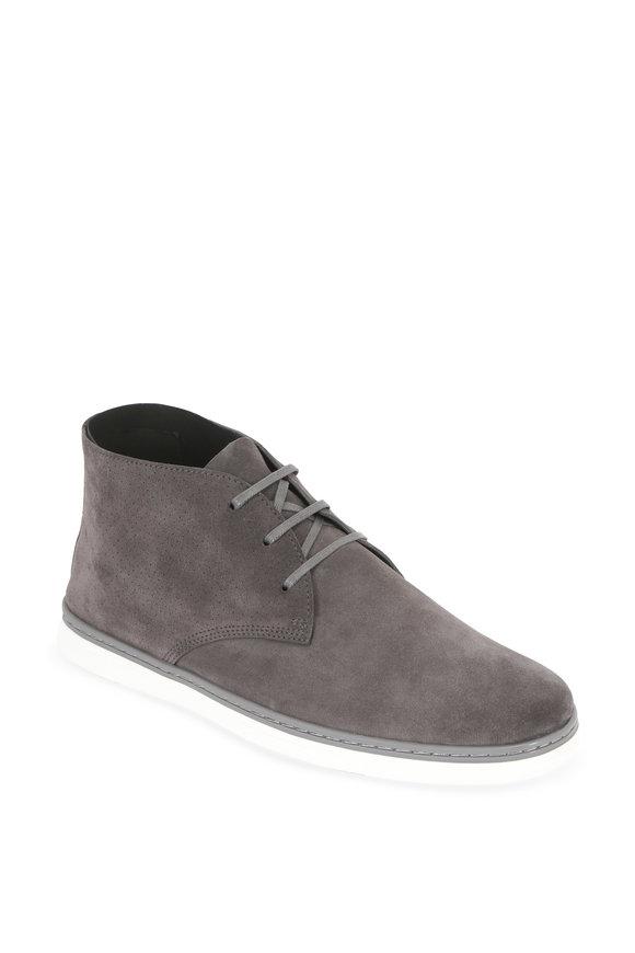 Ermenegildo Zegna Newport Dark Gray Suede Perforated Chukka Boot