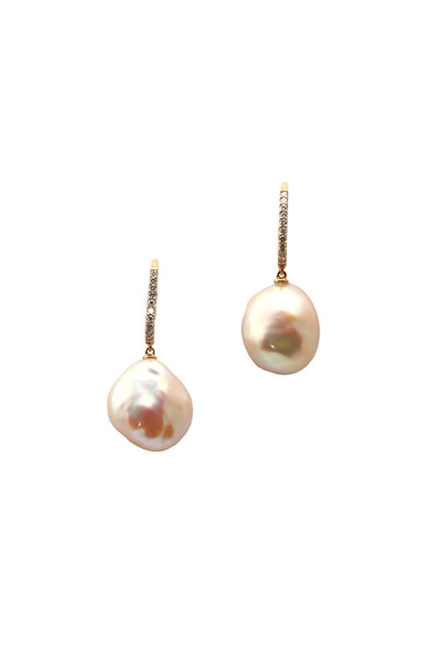 Assael - Gold Freshwater Baroque Pearl Diamond Earrings