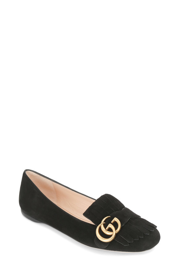 Gucci Marmont Black Suede Fringed Flat