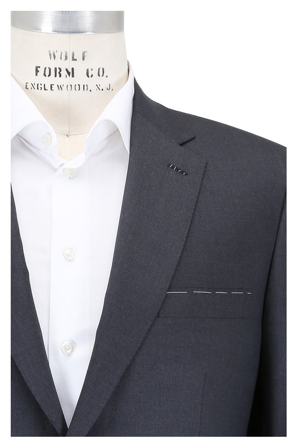 Brioni Solid Charcoal Gray Wool Suit