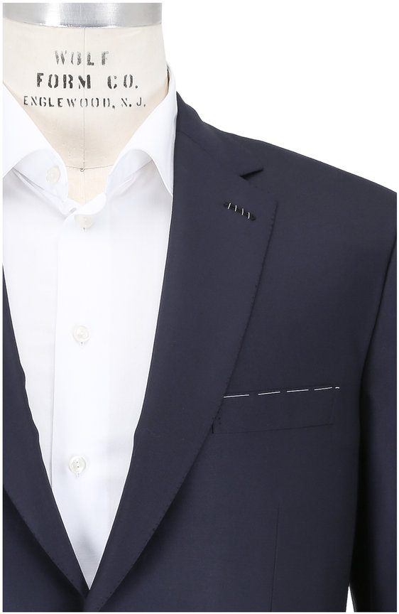 Brioni Solid Navy Blue Wool Suit