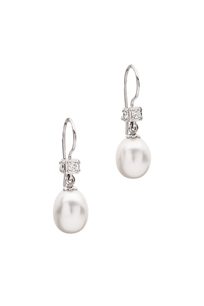 Paul Morelli - White Gold Freshwater Pearl Diamond Earrings