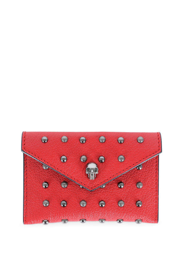 Alexander McQueen Red Studded Leather Envelope Card Case