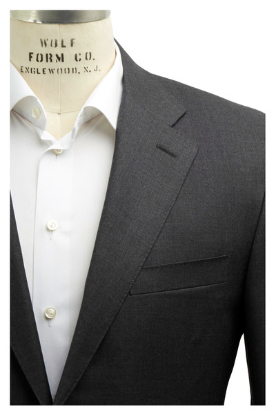 Canali - Solid Charcoal Gray Worsted Wool Suit