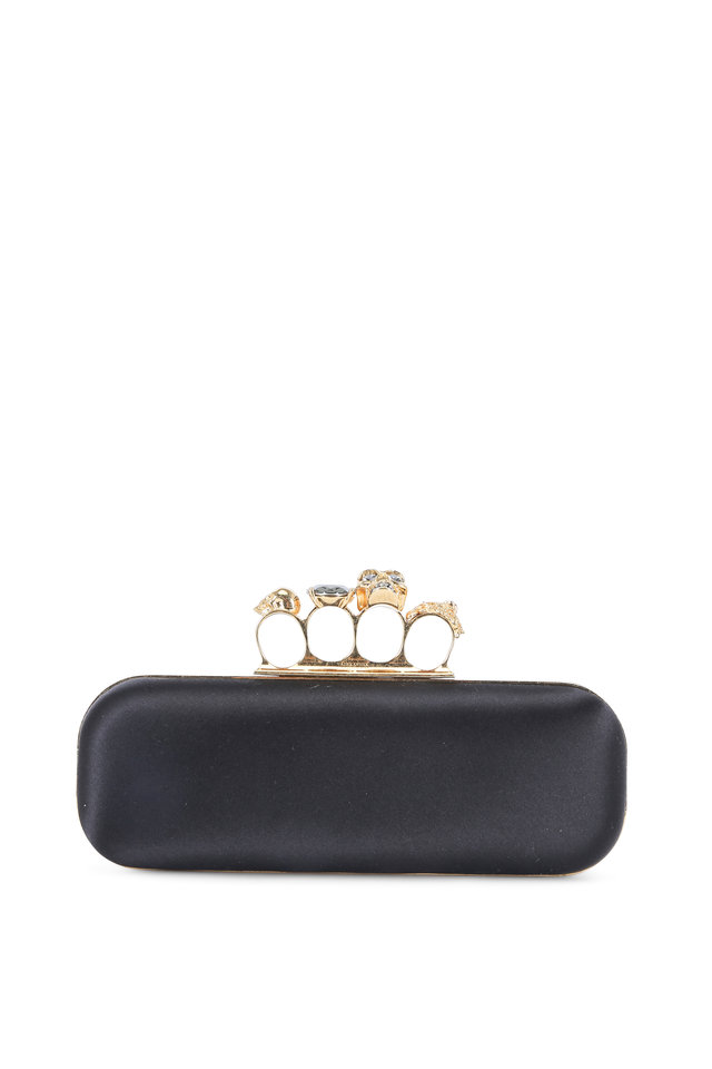 Black Satin Knuckle Box Clutch