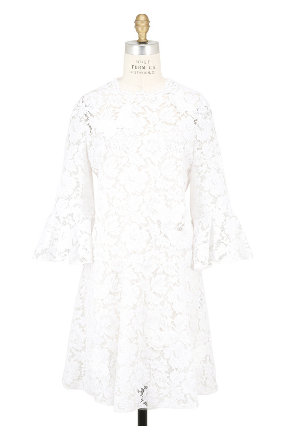 Valentino White Lace Butterfly Embroidered Dress