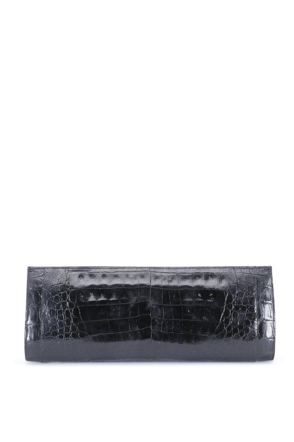 Nancy Gonzalez Black Glossy Crocodile Long Clutch