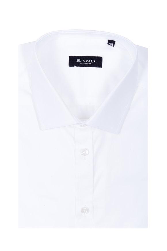 Sand Solid White Slim Fit Sport Shirt