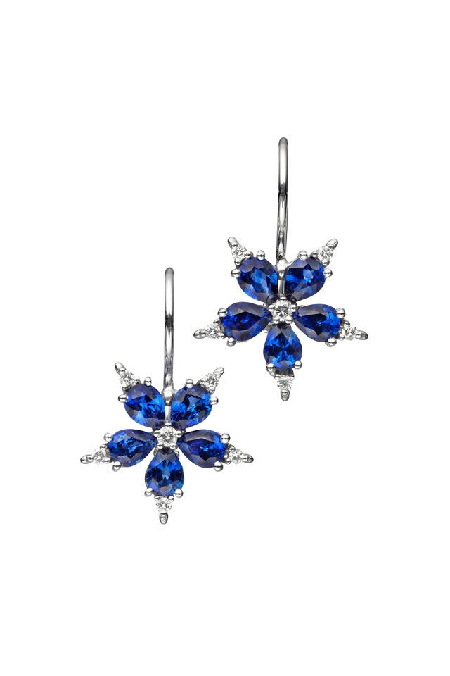 White Gold Blue Sapphire Diamond Earrings