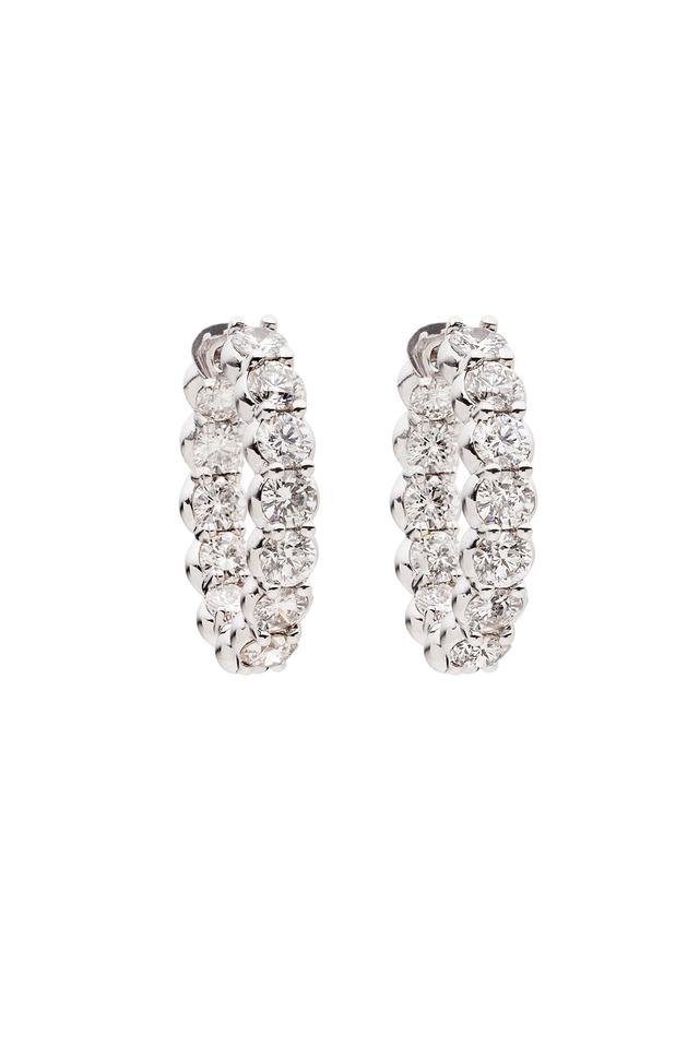 White Gold Pinpoint White Diamond Earrings