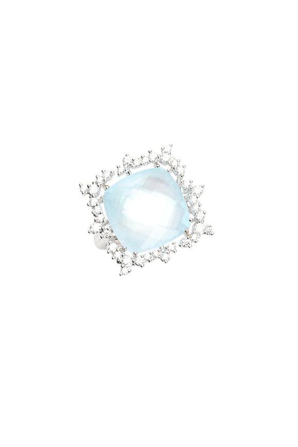 Paul Morelli 18K White Gold Blue Topaz & Diamond Confetti Ring