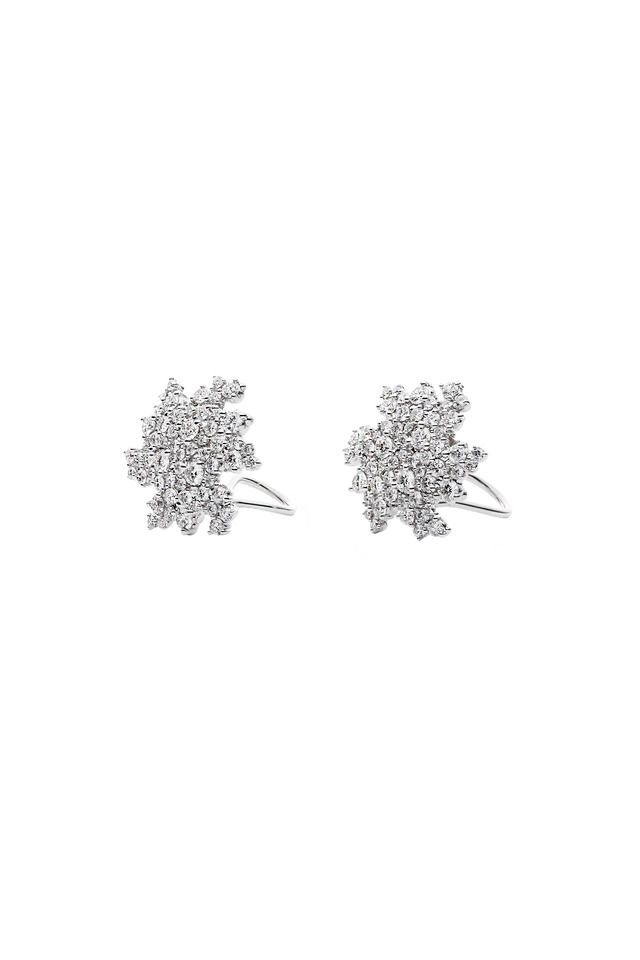 White Gold Confetti Clip Diamond Earrings