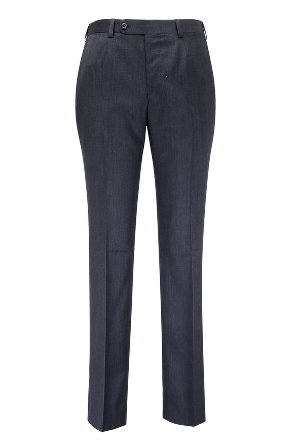 Oxxford Clothes Dark Gray Wool Trouser