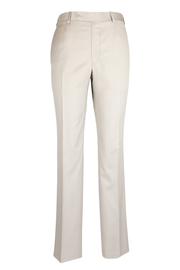 Oxxford Clothes Taupe Wool Trouser