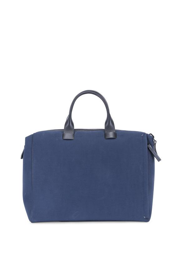 Troubadour Navy Blue Coated Canvas & Leather 24-Hour Bag