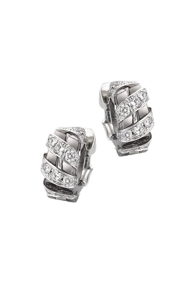 White Gold Pavé-Set Diamond Nouveau Earrings