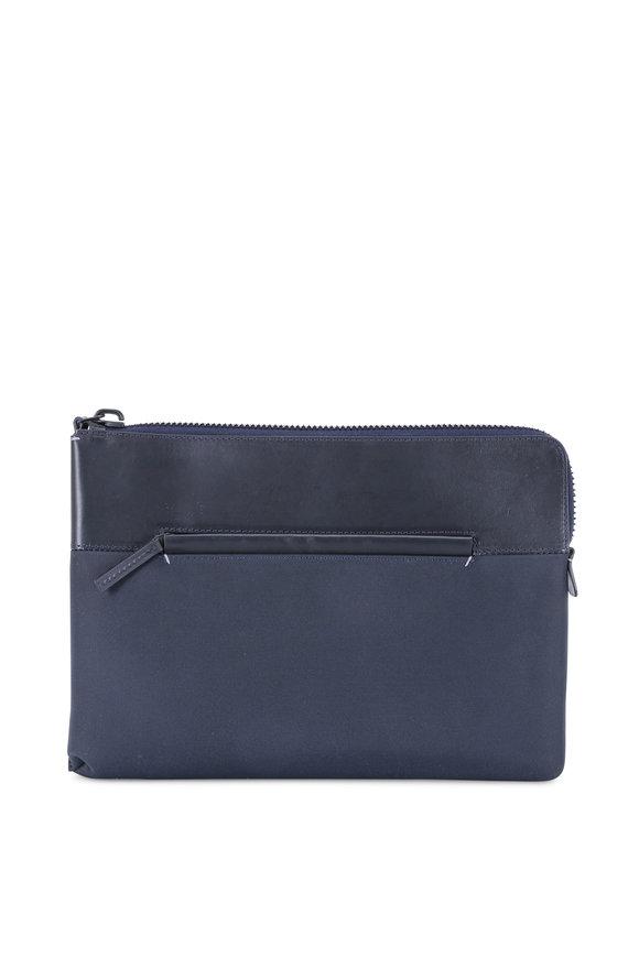 Troubadour Navy Blue Nylon & Leather Portfolio