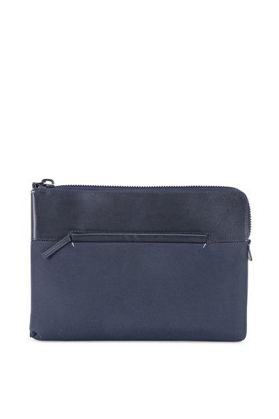 Troubadour - Navy Blue Nylon & Leather Portfolio