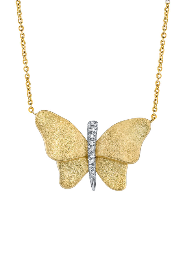 Butterfly Yellow Gold Diamond Pin
