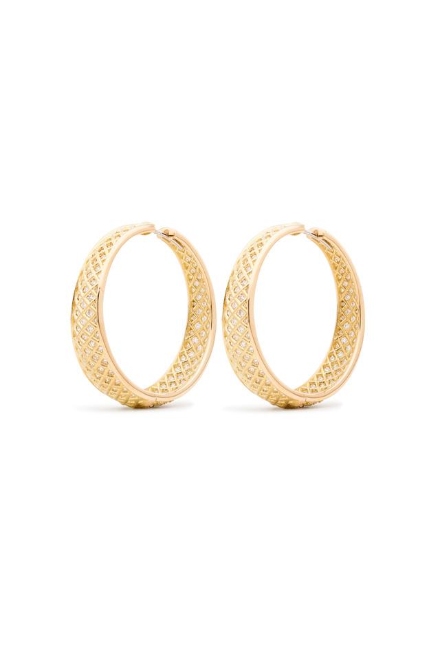 Yellow Gold Spiral Mesh White Diamond Earrings