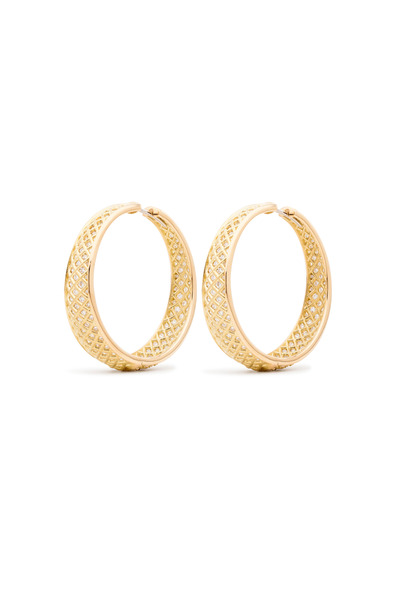 Paul Morelli - Yellow Gold Spiral Mesh White Diamond Earrings