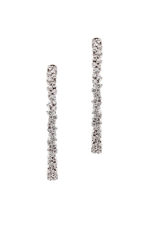 Paul Morelli 18K White Gold & Confetti Diamonds Hoops