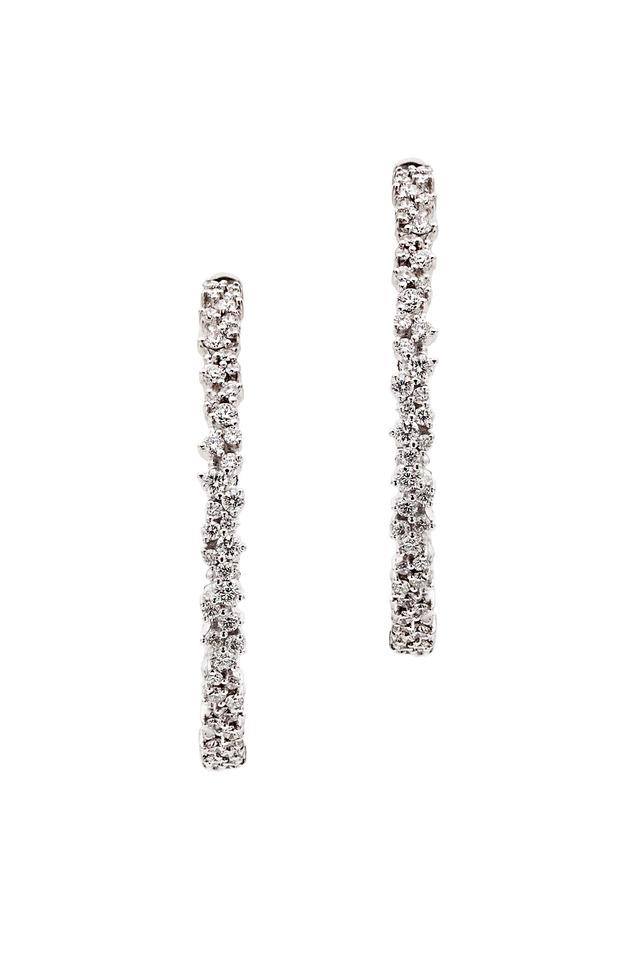 18K White Gold & Confetti Diamonds Hoops