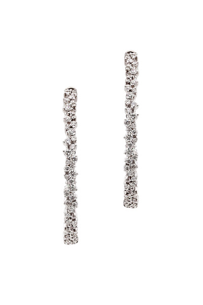 Paul Morelli - 18K White Gold & Confetti Diamonds Hoops
